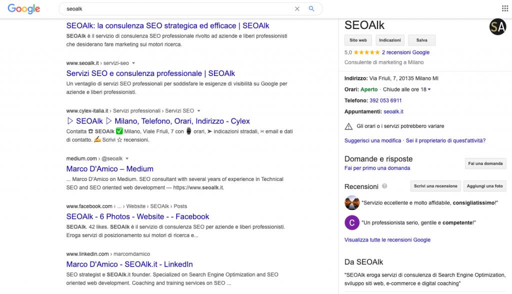 SEOAlk: esempio query navigazionale